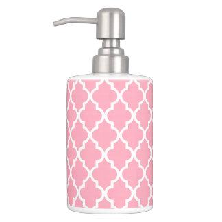 Pink Quatrefoil Tiles Pattern Soap Dispenser And Toothbrush Holder