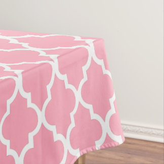 Pink Quatrefoil Tiles Pattern Tablecloth