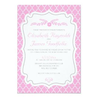 Pink Quatrefoil Wedding Invitations