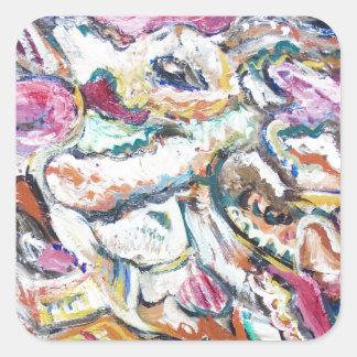 Pink Quetzalcoatl abstract expressionism Sticker