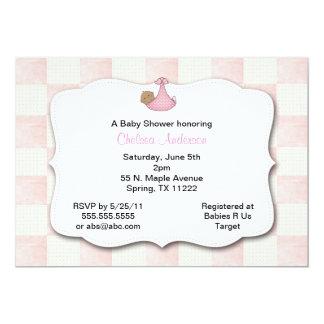 Pink Quilt Baby Shower Invitation Medium skin tone