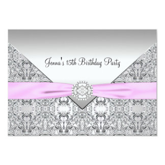 Pink Quinceanera 15th Birthday Party Invitation