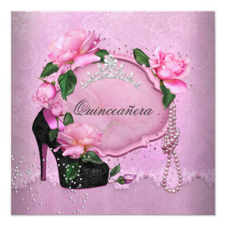 "Pink Quinceanera 15th Party Rose Tiara Shoe 5.25"" Square Invitation Card"