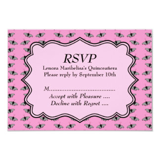 Pink Quinceanera Design with Butterflies Pattern 9 Cm X 13 Cm Invitation Card