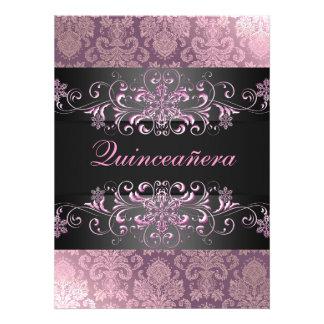 Pink Quinceañera Snow Damask Birthday Invite