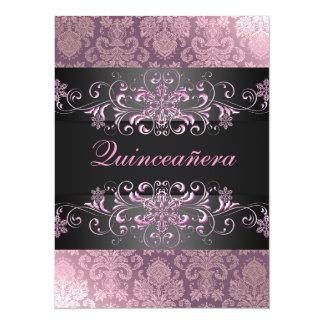 Pink Quinceañera Snow & Damask Birthday Invite