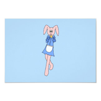 Pink Rabbit Carrying a Cupcake. 9 Cm X 13 Cm Invitation Card