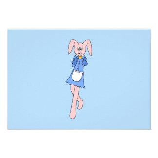 Pink Rabbit Carrying a Cupcake Invitation