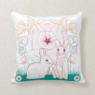 pink rabbits, poppies, lily and bindweeds cushion