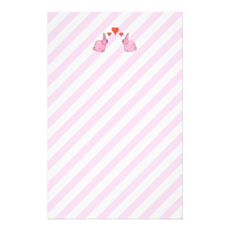 Pink Rabbits with Hearts. Customised Stationery