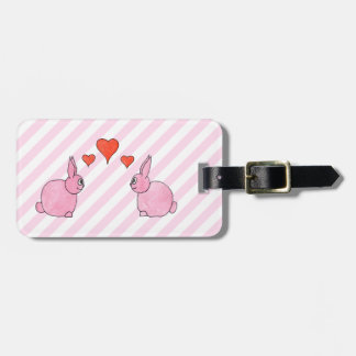 Pink Rabbits with Hearts. Luggage Tag