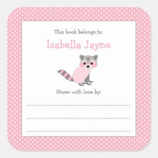 Pink Raccoon Baby Shower bookplate book sticker