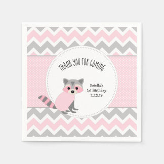 Pink Raccoon woodland animal birthday party Disposable Napkin