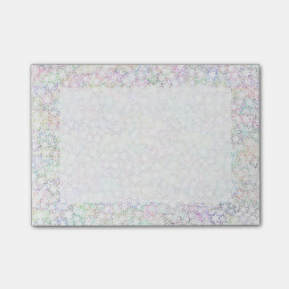 Pink Rainbow and White Star Cluster Kawaii Girl Post-it Notes