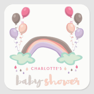 Pink Rainbow & Balloons Girl Baby Shower Sticker