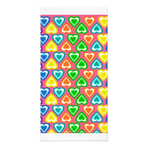 pink rainbow hearts pattern customized photo card