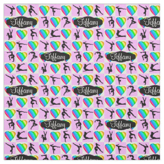 PINK RAINBOW HEARTS PERSONALIZED GYMNAST FABRIC