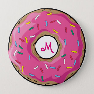 Pink Rainbow Sprinkle Donut 10 Cm Round Badge