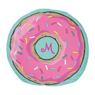 Pink Rainbow Sprinkle Donut Custom Monogram Pouf