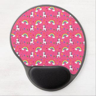 Pink rainbow unicorn hearts stars pattern gel mouse pads