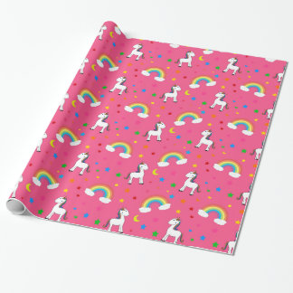 Pink rainbow unicorn hearts stars pattern wrapping paper