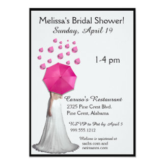 Pink Raindrops Bridal Shower Invitations
