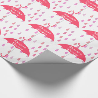Pink Raindrops Custom Shower Wrapping Paper
