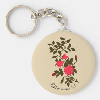 Pink Rambling Rose with Ladybug Key Ring