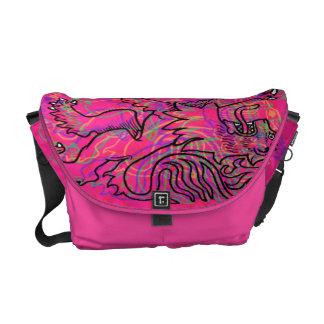 Pink Rampant Lions Messenger Bag