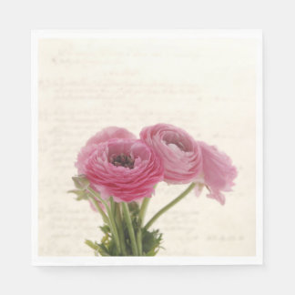 Pink ranunculus flowers on script disposable napkin