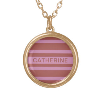 Pink / Raspberry Stripes custom name necklace