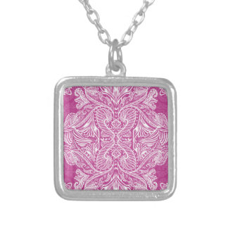 Pink, Raven of mirrors, dreams, bohemian Silver Plated Necklace