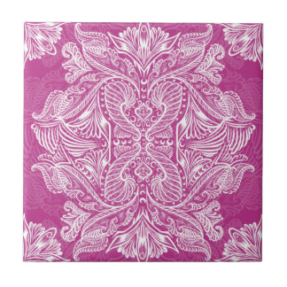 Pink, Raven of mirrors, dreams, bohemian Tile