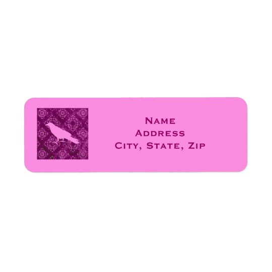 Pink raven on pink and purple damask personalised return address label