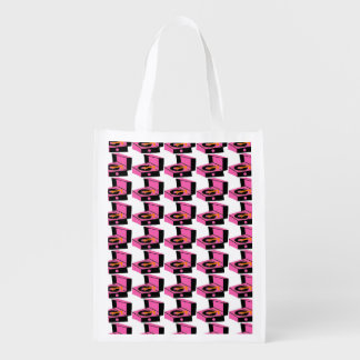 Pink Record Player Houndstooth Grocery Bag