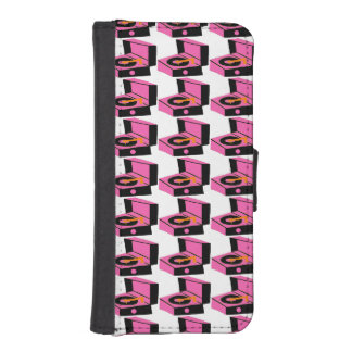 Pink Record Player Houndstooth Wallet Case