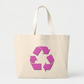 Pink Recycle Symbol Large Tote Bag