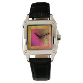 Pink Red And Gold Abstract Watch