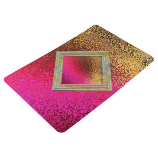 Pink Red And Gold Pattern Floor Mat