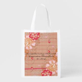 Pink Red and Tan Plaid Reusable Grocery Bag