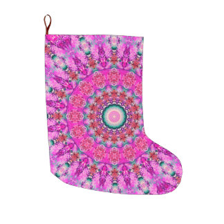 Pink, Red and Teal Mandala Holiday Large Christmas Stocking