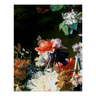 PINK RED ANEMONES WHITE FLOWERS,BUTTERFLY IN BLACK POSTER