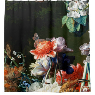 PINK RED ANEMONES WHITE FLOWERS,BUTTERFLY IN BLACK SHOWER CURTAIN