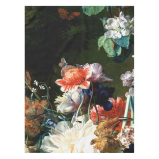 PINK RED ANEMONES WHITE FLOWERS,BUTTERFLY IN BLACK TABLECLOTH
