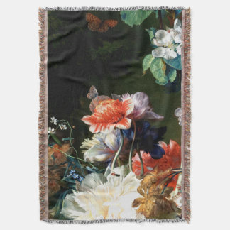 PINK RED ANEMONES WHITE FLOWERS,BUTTERFLY IN BLACK THROW BLANKET