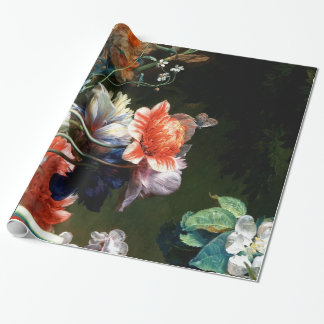 PINK RED ANEMONES WHITE FLOWERS,BUTTERFLY IN BLACK WRAPPING PAPER