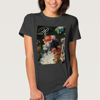 PINK RED ANEMONES WHITE FLOWERS,BUTTERFLY MONOGRAM SHIRT