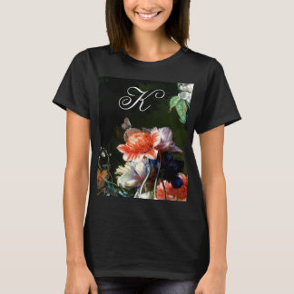 PINK RED ANEMONES WHITE FLOWERS,BUTTERFLY MONOGRAM T-Shirt