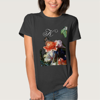 PINK RED ANEMONES WHITE FLOWERS,BUTTERFLY MONOGRAM TSHIRTS