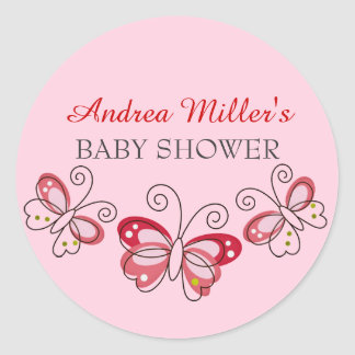 Pink & Red Butterfly Baby Shower Sticker